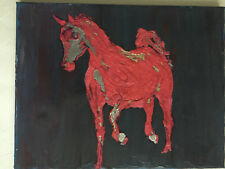 """Abstract Pink Pony Canvas Oil  New 11*14"""" by West Swatti Modern Art Gallery NEW"""