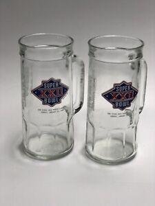 (2) Super Bowl 22 XXII 1988 Stein Mug Beer Glass Jack Murphy Fisher Redskins