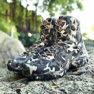 Camouflage Mens Waterproof Outdoor Hiking Climbing Army Boots  Lace Up Shoes