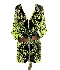 BCBG Dress Velvet Burnout Kimono Sleeve Dress Green Brown Lined Buttons XS GUC