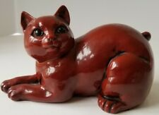 "6"" Vintage Fitz & Floyd Ceramic Vernissage Kitty Flambe Cat Hand Painted"