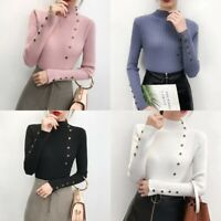 Women's Long Sleeve Turtle Neck Knit Sweater Pullover Jumper Tops Casual Blouse