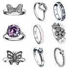 Size 5-9 Fashion Silver Wedding Rings New Gift for Lady Girl Genuine 925 Jewelry
