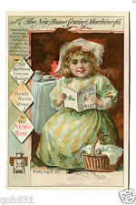 Victorian Trade Card NEW HOME SEWING MACHINE girl reading Song of the Shirt