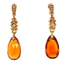 Judith Ripka Diamond Citrine Drop 18 Karat Yellow Gold Earrings