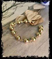 Bracelet Boules 8MM  Plaqué Or 18 CARATS 3 Microns Bijoux Femme