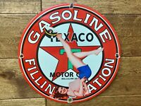"Vintage Texaco Gasoline Heavy Porcelain Sign 12"" Gas & Oil Sign"
