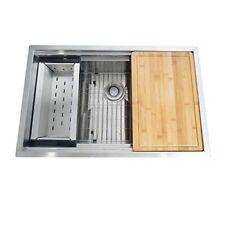 BOANN Zero Radius Single Bowl Undermount Sink w/sliding Cutting board & Colander
