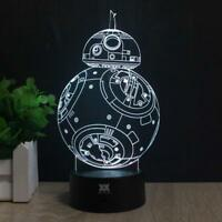 3d Lamp Star Wars Toy BB8 BB-8 Force Awakens Night Light Lamp Robot Droid Kids