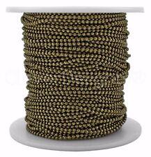 Ball Chain Spool - 30 Feet - Antique Bronze Color - 1.5mm Ball - 10 Yards Bulk