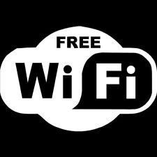 Adesivo FREE WI-FI sticker wifi libera vetrina vetrofania negozio pub bar BIANCO