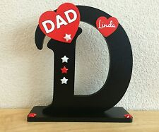 Handcrafted Wooden letter D for Dad, Daddy birthday, gift, present plaque