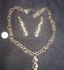 Gorgeous 14K Gold Necklace and Earrings with topaz? beads 8 grams Splendori