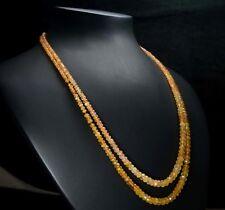 "N-0491 Carnelian Gemstone Crystal Natural Rondelle 2 Line Loose Bead 16""Necklace"