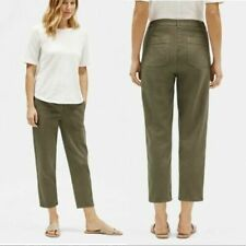 New Eileen Fisher Slim Ponte Viscose Stretch Black pants Elastic pull up S L XL