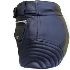 Hotpants Lederhose Shorts Gürtel Nappa Leder Taschen Hose kurz Damen schwarz