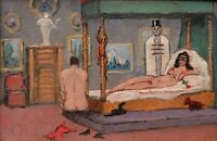 Robert LEMONNIER tableau huile érotique curiosa scène prostituée maison close