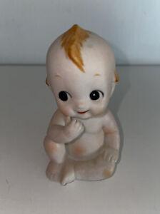"""Baby Boy Angel Kewpie Cupie Doll Bisque Porcelain Figurine Blue Wings 3 1/2"""""""
