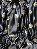 """Black/Gold Medallion Chinese Brocade Fabric 45"""" Wide Upholstery Dress Jacket New"""