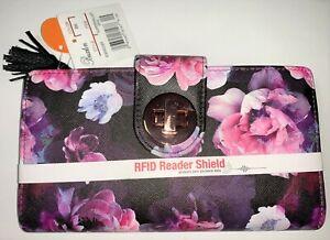 NEW Buxton RFID Reader Shield Blocking Pink Floral Flower Super Organizer Wallet