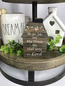 """Serve the Lord"" Wood House Sign Tiered Tray Bowl Gift Set Filler Farmhouse"