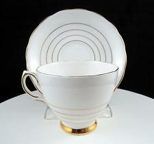 """ENGLAND BONE CHINA GOLD RINGS 2 3/4"""" FOOTED CUP AND SAUCER SET"""
