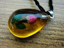 Vintage Necklace with Resin Flower Rose Bud Pendant