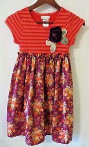 Bonnie Jean Girls Dress Empire Waist Short Sleeve Org Purple Print 10  #0314