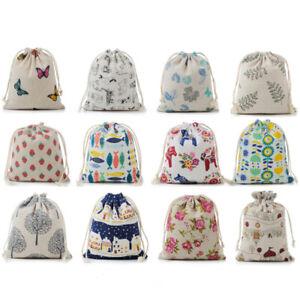 Cotton Linen Drawstring Pocket Travel Storage Bag Toy Organizing Cloth Bags