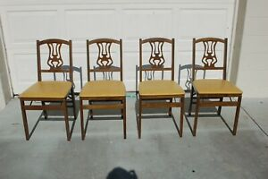 VINTAGE Set of 4 STAKMORE Solid Wood WOODEN FOLDING CHAIRS Padded Yellow Gold