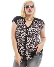 New Cute Junior's Black Animal print Rockabilly Plus size Top 1XL-2XL-3XL