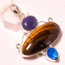 Tigers Eye, Lapis Lazuli & Blue Topaz 925 Stamped Pendant Jewelry 2.2 Inch 8000