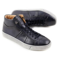NIB $710 SANTONI Dark Slate Blue Leather Mid-Top Sneakers US 7.5 Shoes
