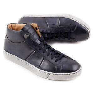 NIB $710 SANTONI Dark Slate Blue Leather Mid-Top Sneakers US 6 Shoes