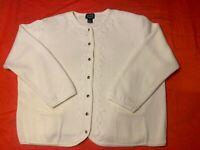 Vintage Designers Studio Originals Women's Cardigan Ecru Embroidered Pockets 2X