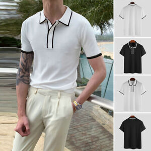 Men's Short Sleeve Fashion Slim Casual Shirts Button Up Tops Formal Work Blouse
