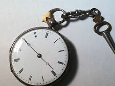 Vintage pocket watch with key, running, small, beautiful, needs clean