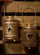 2 x Oro Metallo candela Tealight titolari LANTERNA NEW STAR & Cuore Outdoor GLITER
