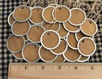 """50 Metal Rim Round SMALL 1-1/4"""" Coffee Stained Primitive Price Gift Hang Tags"""