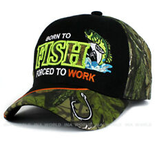 Fishing hat 'Born to FISH Force to Work' Outdoor Baseball cap- Black/Hunter camo