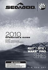 Sea-Doo Owners Manual Book 2010 RXT, GTX & WAKE PRO SERIES