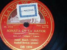 VIOLIN 3 x 78 rpm RECORDS VsA ADOLF BUSCH Sonata BEETHOVEN Spring RUDOLF SERKIN