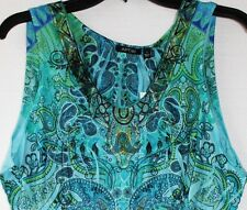 Apt 9 Womens M Blue Eden Paisley Medallion Scroll Embellished Top