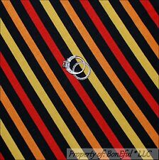 BonEful Fabric FQ Cotton Woven Decor Black Orange Red Yellow Lg Stripe Halloween