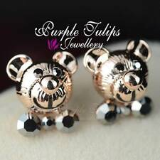 18CT Rose Gold Plated Cute Bow Teddybear Earrings Made With SWAROVSKI Crystals
