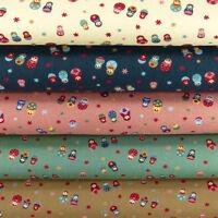 FQ. Linen Look Matryoshka Russian Doll Flower Retro Print 100% Cotton Fabric VM1