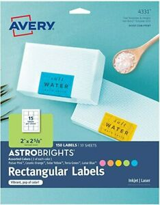"""AVERY ASTROBRIGHTS 4331 Rectangular Labels Assorted Colors 150 ct 2' x 2.6"""" NEW"""