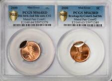 2000 Pcgs Ms64/63Rd Rare 2 Coin Holder Mated Pair Lincoln Cent Mint Errors Wow!