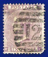 1862 SG84 6d Lilac J71(2) ML Fair Used London Foreign Branch 12 CV £130 akoj
