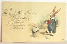 PostCard Happy Easter Peter Rabbit Poem Posted Used Doon Iowa 4-15-1922 Vintage